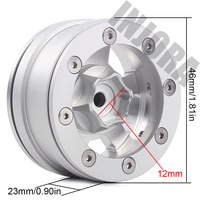 "INJORA 4Pcs Silver 1.55"" Aluminum Alloy Wheel 1.55 Beadlock Rim for 1/10 RC Crawler Car D90 TF2 Tamiya CC01 LC70 LC80 2"