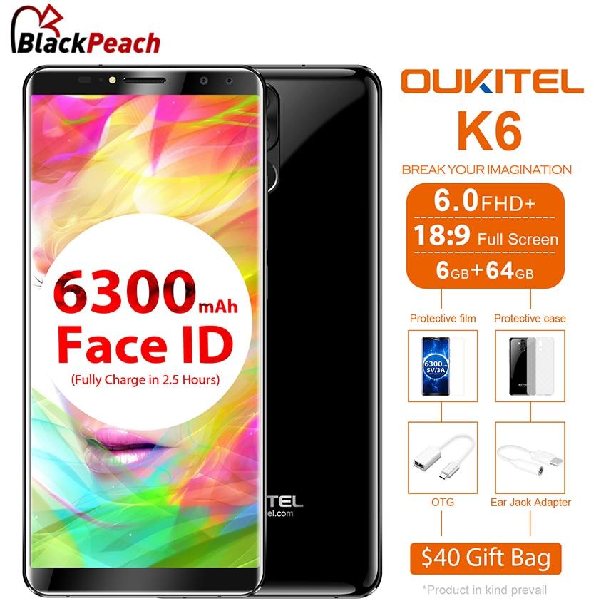 Oukitel K6 6.0 Inch 18:9 Full Screen 4G Smartphone MT6763 Octa Core Android 7.1 6GB RAM 64GB ROM 21MP+8MP Dual Camera 6300mAh