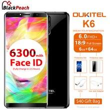 Ограниченное предложение Oukitel K6 6,0 дюймов 18:9 полный Экран 4 г смартфон MT6763 Octa Core Android 7,1 6 ГБ Оперативная память 64 ГБ встроенная память 21MP + 8MP двойной Камера 6300 мАч