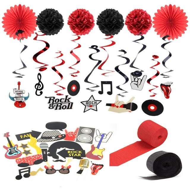 10pcs Rock Party Decoration Kit Rockstar Photo Booth Props Rock N