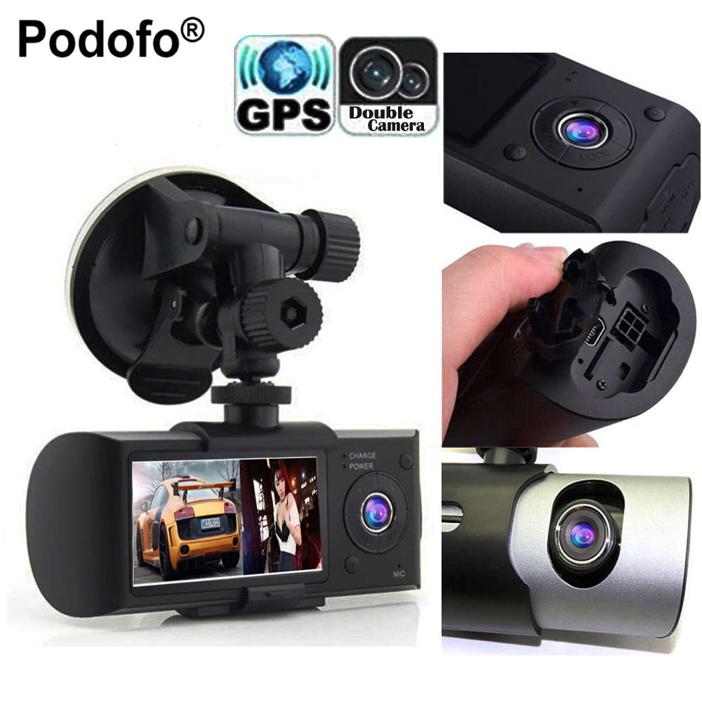 Podofo Dual font b Camera b font Car DVR R300 Videoregistrator With GPS Registrator Car Recorder