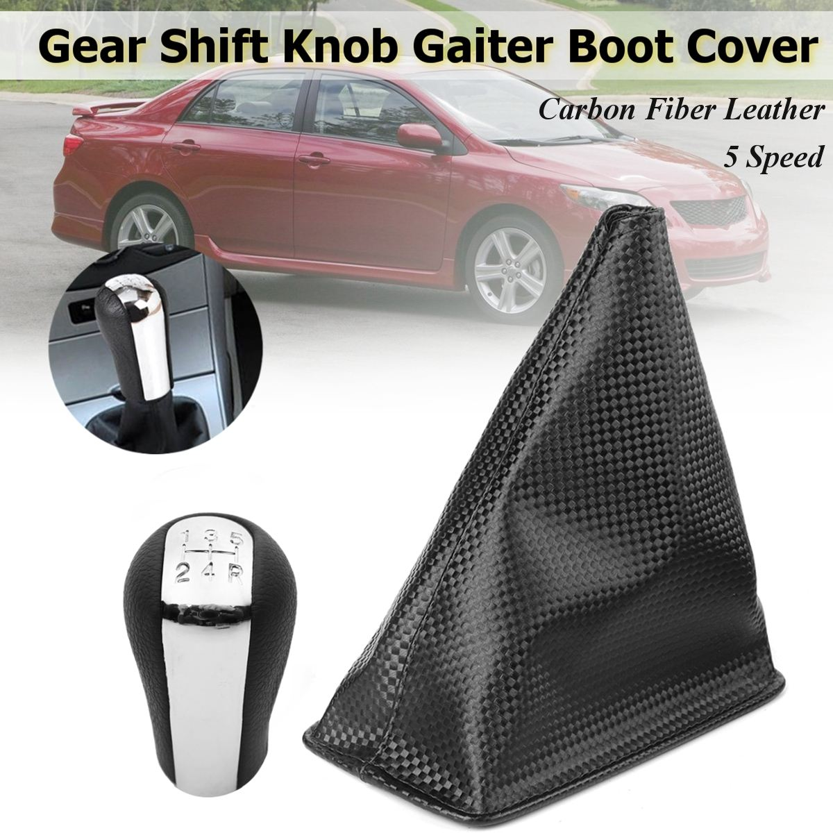 5 Speed Black Silver ABS Carbon Fiber Leather Gear Knob Gaiter Boot Cover For Toyota Corolla 1998 1999 2000 2001 2002 2003 2004