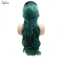 Sylvia Long Dark Green Ombre Synthetic Fishtail Braid Hair For Women Natural Wavy Free Part Heat Resistant Fiber 24 Party Wigs