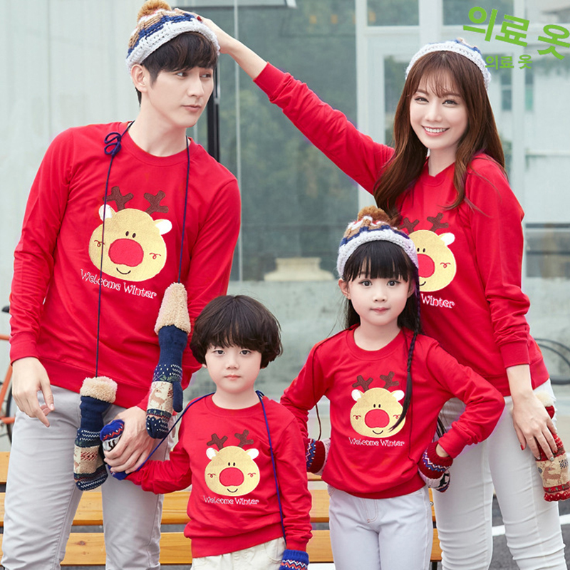 Family Matching Clothes Dad Mom And Me Father Mother Daughter Son Christmas New Year Cotton Sweater Outfits Family Look