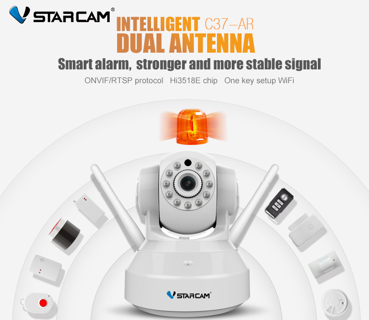 VStarcam HD Alarm Camera Wireless Audio Recording Infrared add Door/PIR Sensor Security Alarm System IP Camera Wifi C37-ARVStarcam HD Alarm Camera Wireless Audio Recording Infrared add Door/PIR Sensor Security Alarm System IP Camera Wifi C37-AR