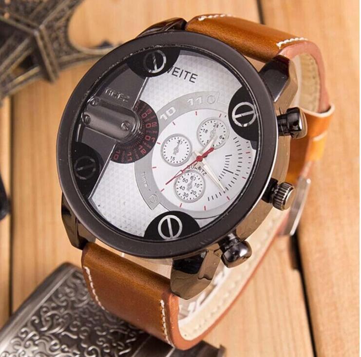 52c863d0062 Pulseira De Couro De Aço Inoxidável dos homens De Luxo de Quartzo Analógico  Esporte Relógios de Pulso   D