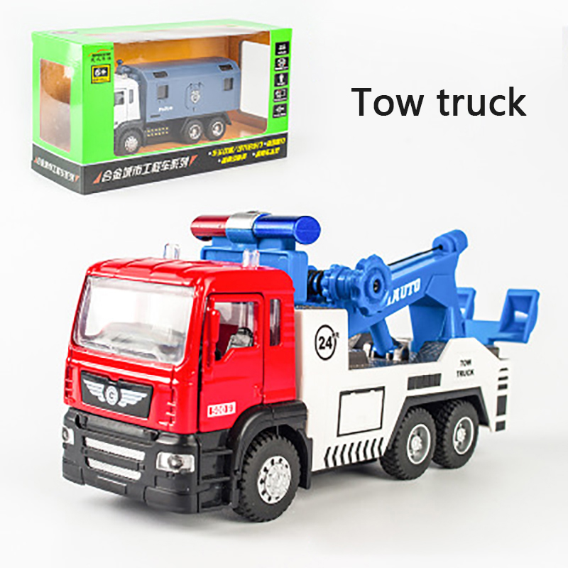 KIDAMI 1:50 Engineering Vehicle Alloy Pull Back Diecast Car Model Tow Truck  Toy With Sound Light Gift Toys For Children Boys