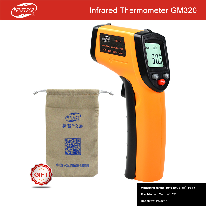 Benetech GM320 Non-Contact Thermometer Laser LCD Digital IR Infrared Thermometer