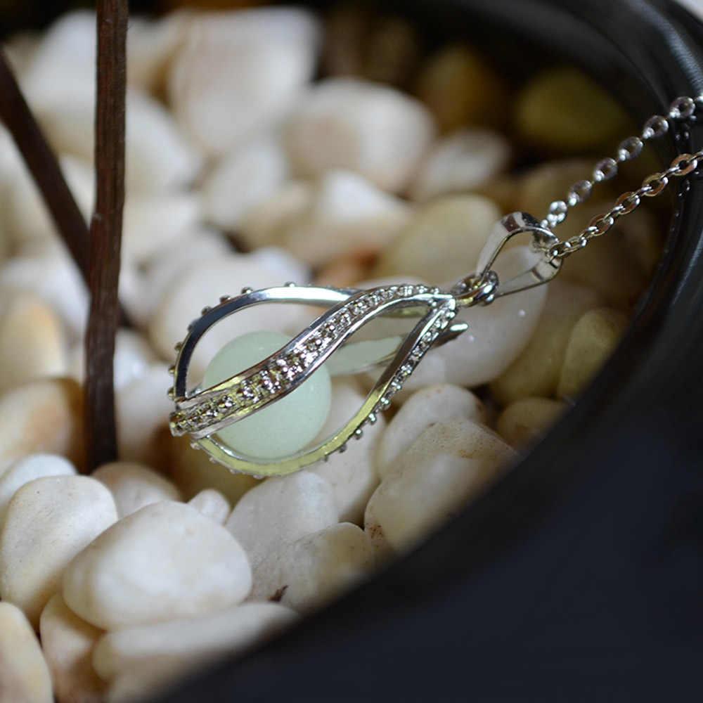 Novo diy gaiola fulgor no escuro colar difusor medalhão pingente colar para festa dos homens presentes de halloween