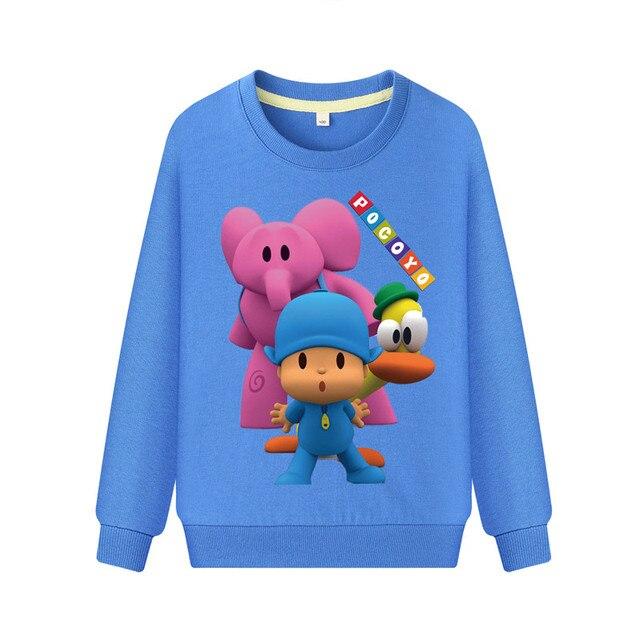 Children Spring Hoodies Boys 2019 New Cartoon Pocoyo Sweatshirt Costume Girls Long Sleeve Pink Hoodie Clothing Kids Tshirt WK029