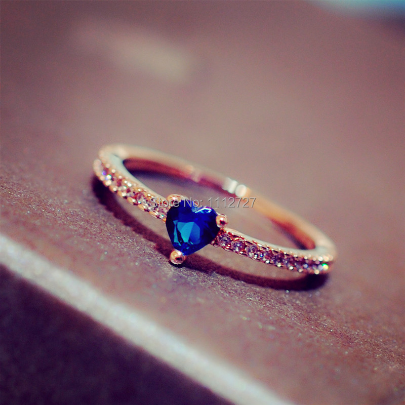 Simple Love Sapphire Ring High quality Female Inlaid CZ Ring ...