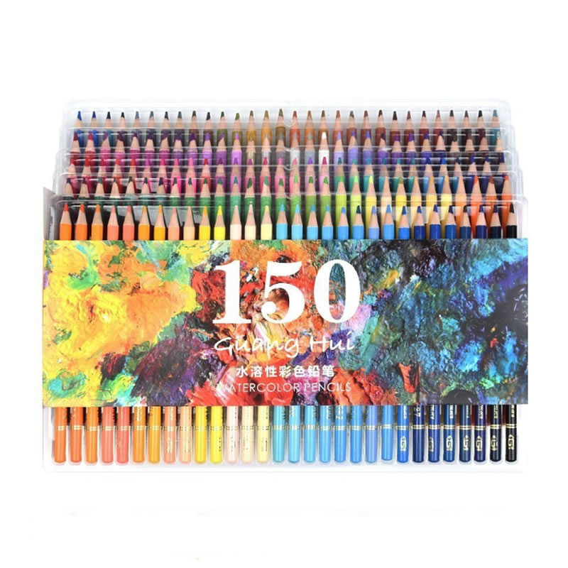 150 Colors Soft Watercolor Pencils Wood Water Soluble Coloured Pencils Set For Lapis De Cor Painting Sketch School Art Supplies 24 36 colors watercolor pencils lapis de cor professional lapis escolar school paint water soluble color hydrotropic carton