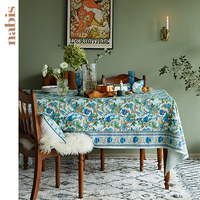 Magpies on the branches cotton printed tablecloth rectangle round wedding party homewarming gift table cloth