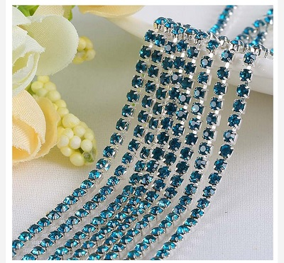 1 ярд/шт, 30 цветов, стеклянные хрустальные стразы на цепочке, Серебряное дно, Пришивные цепочки для рукоделия, украшения сумок для одежды - Цвет: Peacock blue