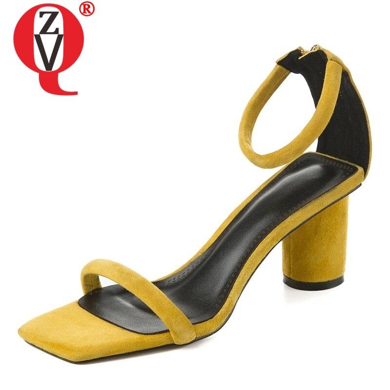 ZVQ schuhe frau sommer neue mode sexy feste kid suede party frau sandalen außerhalb hohe seltsame stil damen schuhe größe 33 40-in Hohe Absätze aus Schuhe bei AliExpress - 11.11_Doppel-11Tag der Singles 1