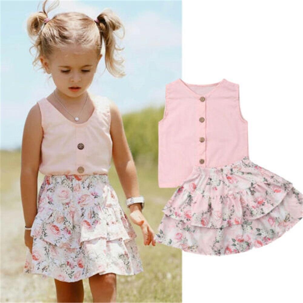 2PCS Summer baby girls skirts set Toddler Kids Baby Girls Clothes Tops+Skirts