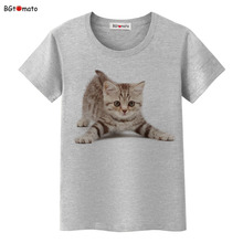 BGtomato Cute little cat t shirt women real 3D fashion summer Brand good quality cotton tops