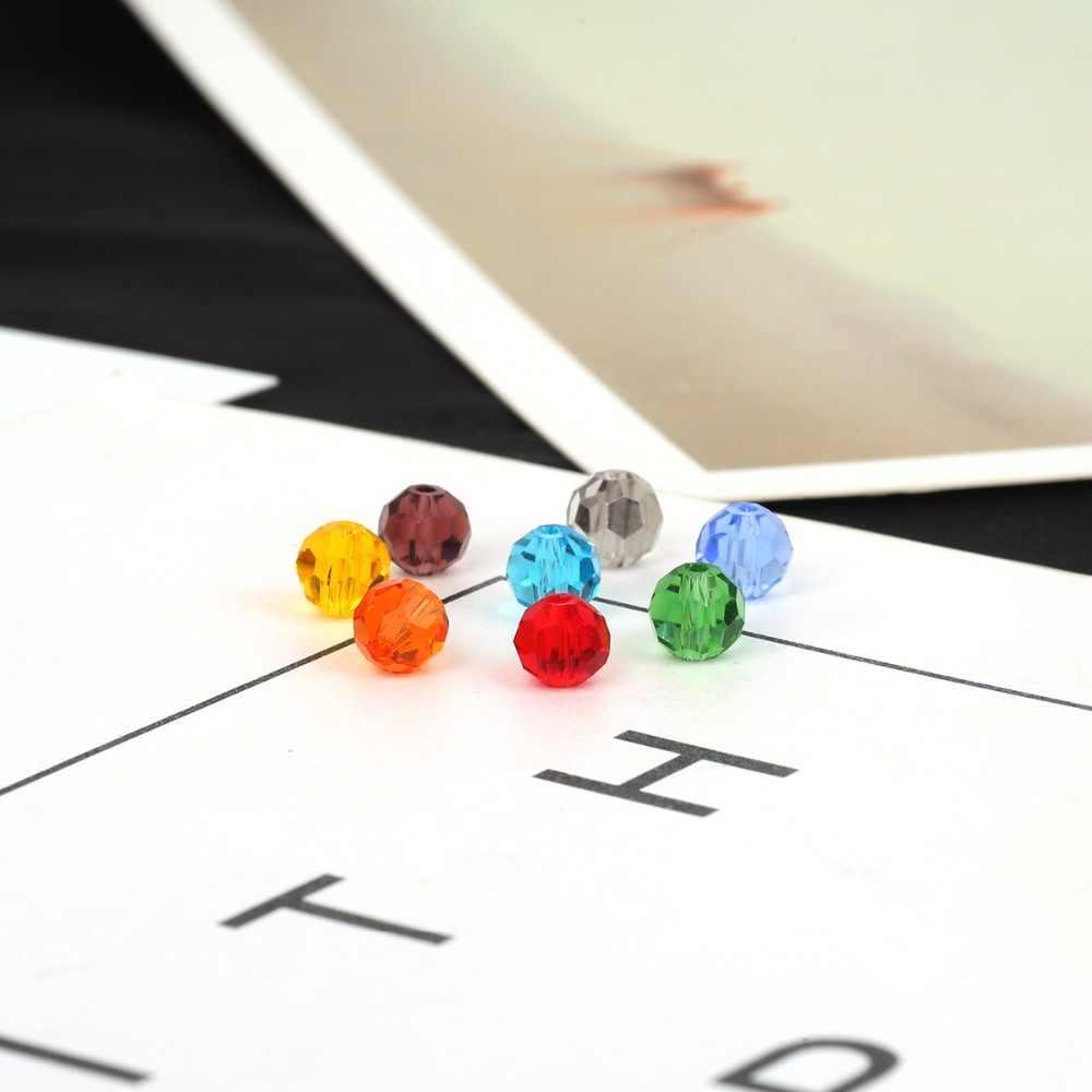 100 pz/lotto 4 millimetri 6 millimetri Rondelle Austria Perline Di Cristallo Sfaccettato I Branelli di Vetro Branelli Allentati Del Distanziatore Per DIY Monili Che Fanno