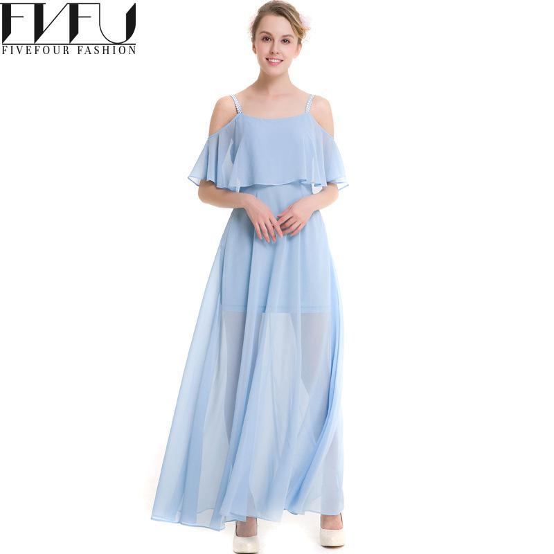 0e753e6c016d 2017 Fashion Summer Dress Solid Color Off Shoulder Long Beach Dress Girls  White blue Casual Loose Chiffon Dress Plus Size Xxxl