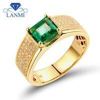 Роскошный Принцесса Cut 5.5x5.5 мм 18 К желтого золота с бриллиантами Зеленый Изумрудный уникальные мужские Кольца wu255