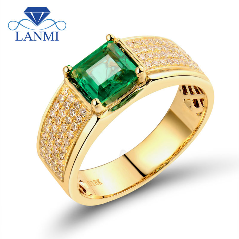 Luxurious Princess Cut 5.5x5.5mm 18k Yellow Gold Diamond Green Emerald Unique Mens Rings ...