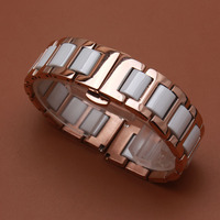 Stainless steel Watchband with ceramic Watch accessories wristbands White and silver gold rosegold mixed color 16mm 18mm straps