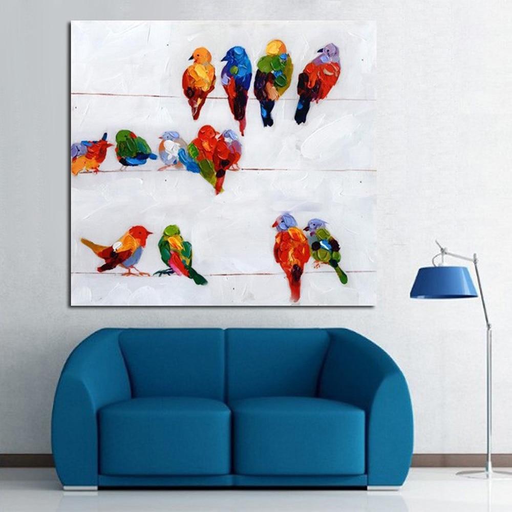 Acheter Peint à la main Peinture À L'huile Plus D'oiseaux sont parler Reste Conçu Huile Peinture Abstraite Moderne Mur de Toile Art non Encadrée de Peinture et Calligraphie fiable fournisseurs
