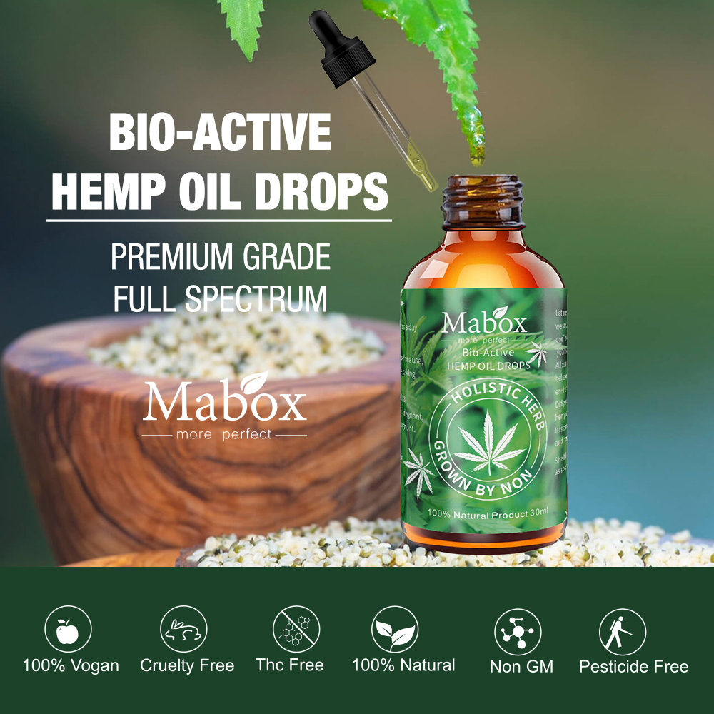 MABOX Hemp Oil 100 Natural Sleep Aid Anti Stress Hemp Extract Drops for Pain Anxiety Stress