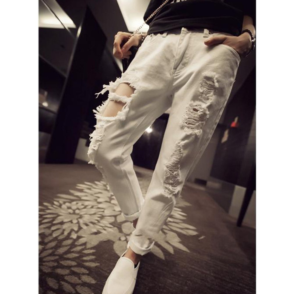 26bdabf1f1f ... Ripped Jean Pants Ladies White Loose Harem Pants Spring Summer Women  Full Length Ripped Hole Casual Denim Trousers New-in Jeans from Women s  Clothing ...