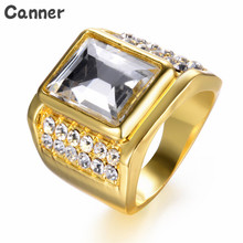Canner Luxury Gold Big Square Rings For Men Big Rhinestone Stainless Steel Engagement Ring Women Jewelry engagement rings for women wedding jewelry big crystal stone ring stainless steel jewelry