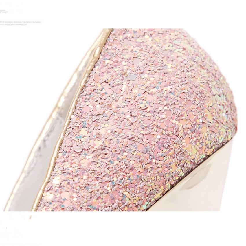 2018 Новый модные, пикантные Для женщин блестящие свадебные туфли 16 см женские туфли лодочки обувь на платформе на высоком каблуке блестящие туфли сине белые черный, розовый - 4