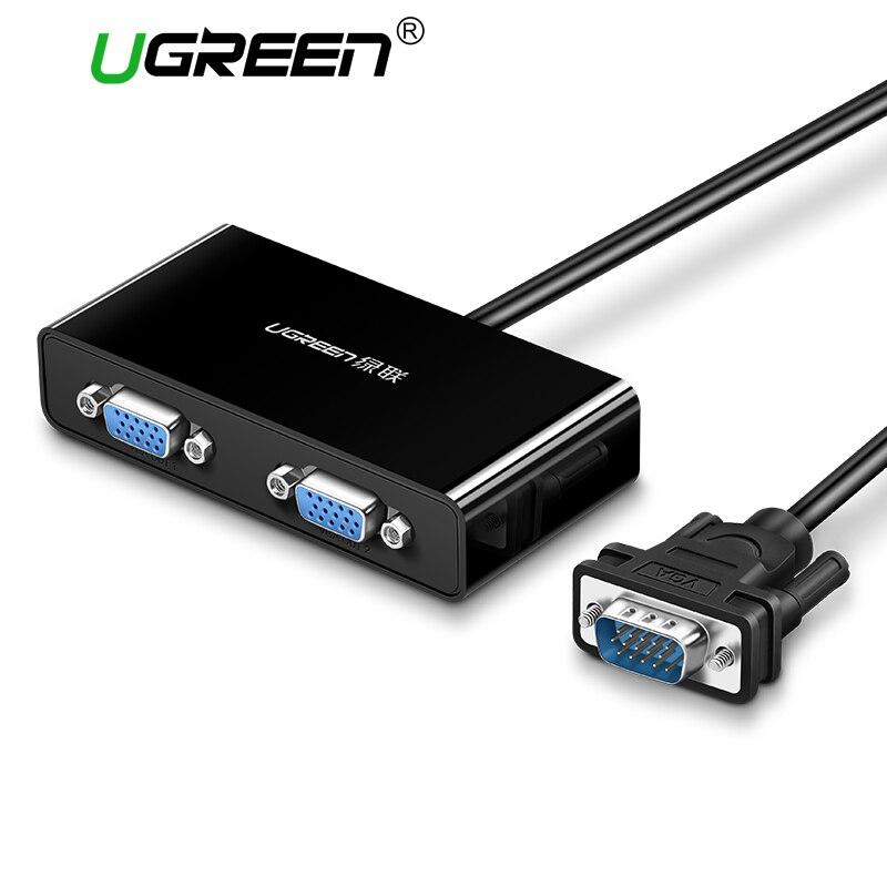 Ugreen 2 puertos VGA interruptor divisor 1920*1440 VGA macho a dos Divisor de Cable para computadora portátil proyector HDTV VGA Splitter