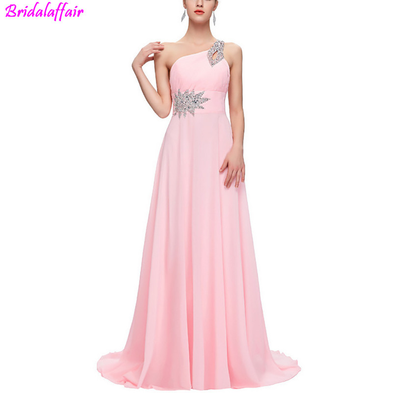 Baby Pink Chiffon Long Prom Dresses 2019 One Shoulder Lace Vintage Sequin Evening Dress With Beads Vestidos De Festa