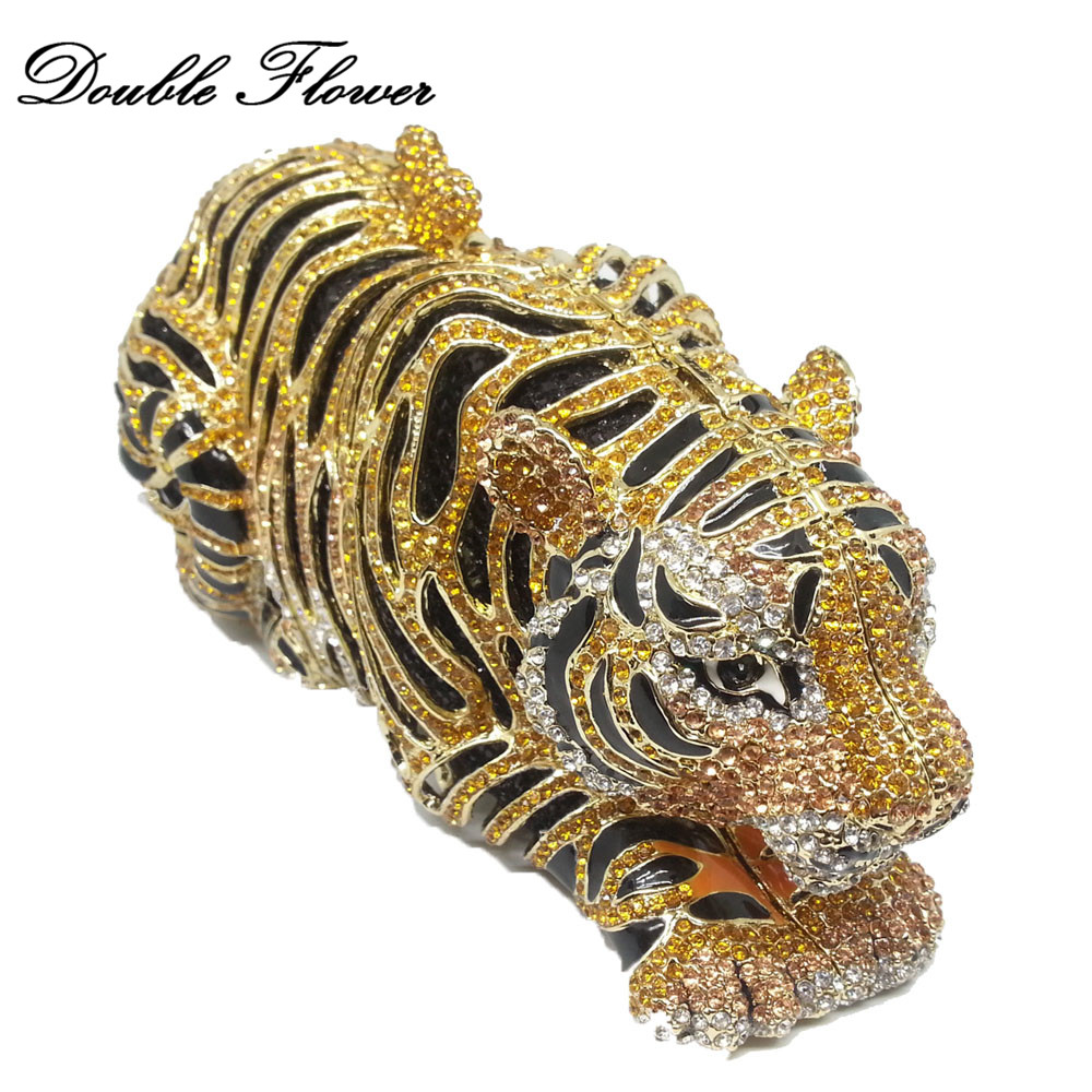 Double Flower Vintage Golden Tiger 3D Shape Women Crystal Animals Minaudiere Bag Clutch Purse Evening Wedding Cocktail HandbagsDouble Flower Vintage Golden Tiger 3D Shape Women Crystal Animals Minaudiere Bag Clutch Purse Evening Wedding Cocktail Handbags