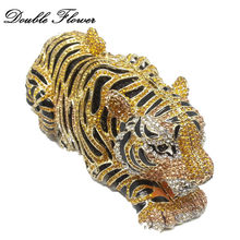 Golden Tiger 3D dupla Flor Do Vintage Forma Das Mulheres de Cristal Animais Saco Minaudiere Clutch Purse Evening Cocktail Casamento Bolsas(China)