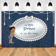 Baby Shower Backdrop Dark Skin Boy Baby Shower Party Photography Backdrops Denim and Diamond Prince Party Banner Background dark prince