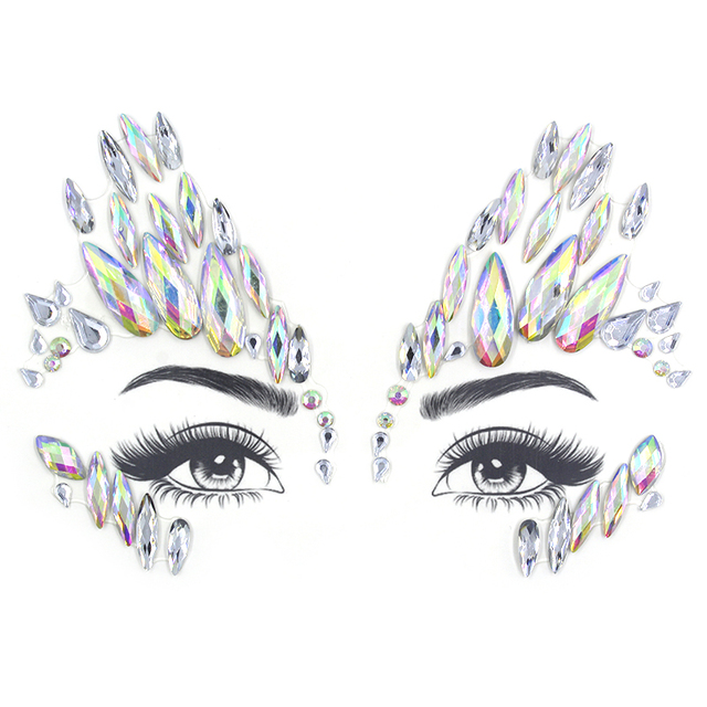 Glitter Face Jewelry Sticker Temporary Tattoo Party Face Makeup Tools rhinestones Flash tattoo stickers 1