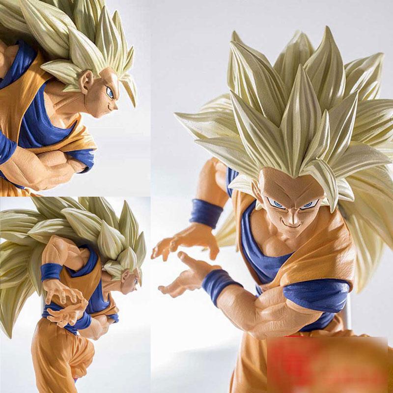 anime figure 20cm dragon ball Super saiyan three Battle damage Edition Son Goku Kakarotto action figure toys collection  toy