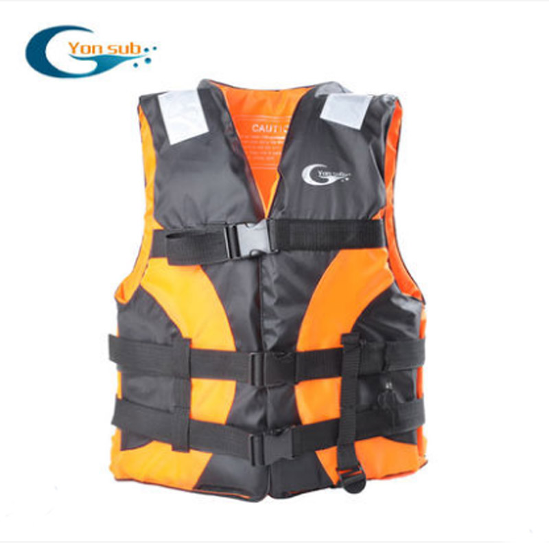 YonSub Adult Lifejacket Drifting Life Vest Buoyancy Clothing Professional Snorkeling Suit Vest Whistle/Orange цена и фото