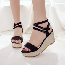 Women Open Toe Platform Sandals Casual Leisure Wedges PU Leather for Ladies