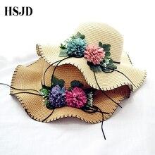 2018 Moda de Nova flor Bonito chapéus de sol Menina feito à mão palha onda  sombra chapéu aba larga chapéus de sol ocasional de v. c6f8b5a74c5
