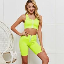 Women Sportwear Fluorescent Yellow Yoga Set 2 Pieces Fitness Tops & Yoga Shorts Sport Fitness Suit Gym Workout Set Female 2016 3 pieces women fitness yoga set jacket