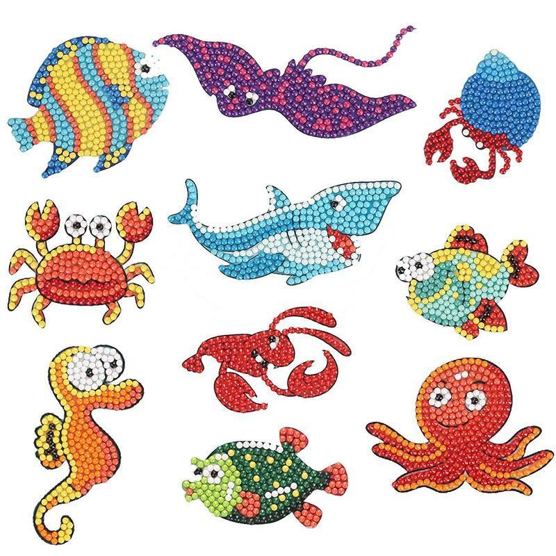 DIY Full Drill Diamond Painting Kits Animals Kids Round Diamond Stickers Embroidery Cross Stitch Craft Kids Toy