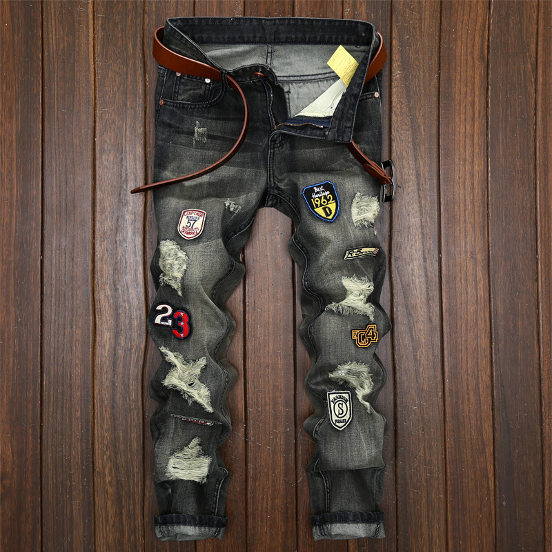 ACRMRAC Men Jeans Slim Hole Nostalgic  Embroidery Patchwork Straight Large Size Jeans Men 163