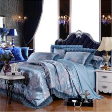 embroidered home textile bedding set luxury blue jacquard satin silkcotton duvet cover bed sheet