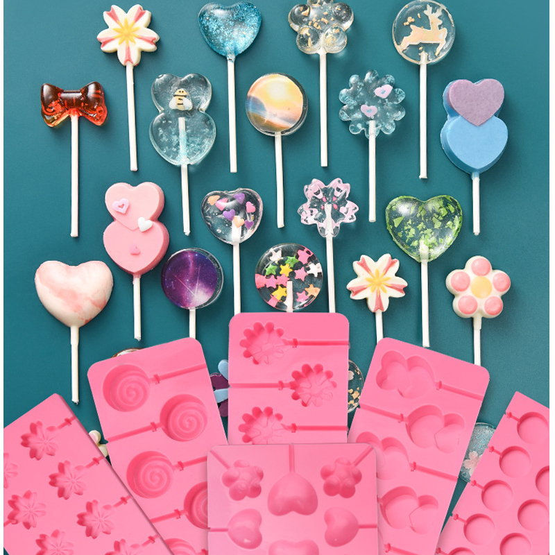 Round Heart Silicone Lollipop Mold Flower Candy Chocolate Molds Cake Decorating Form Bake Bakeware Tool Bear Lolipops Cake Molds(China)