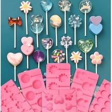 Rotonda Cuore lollipop Silicone Del Fiore della muffa della caramella di cioccolato stampi cake decorating forma cuocere strumento bakeware orso lolipops stampi per dolci