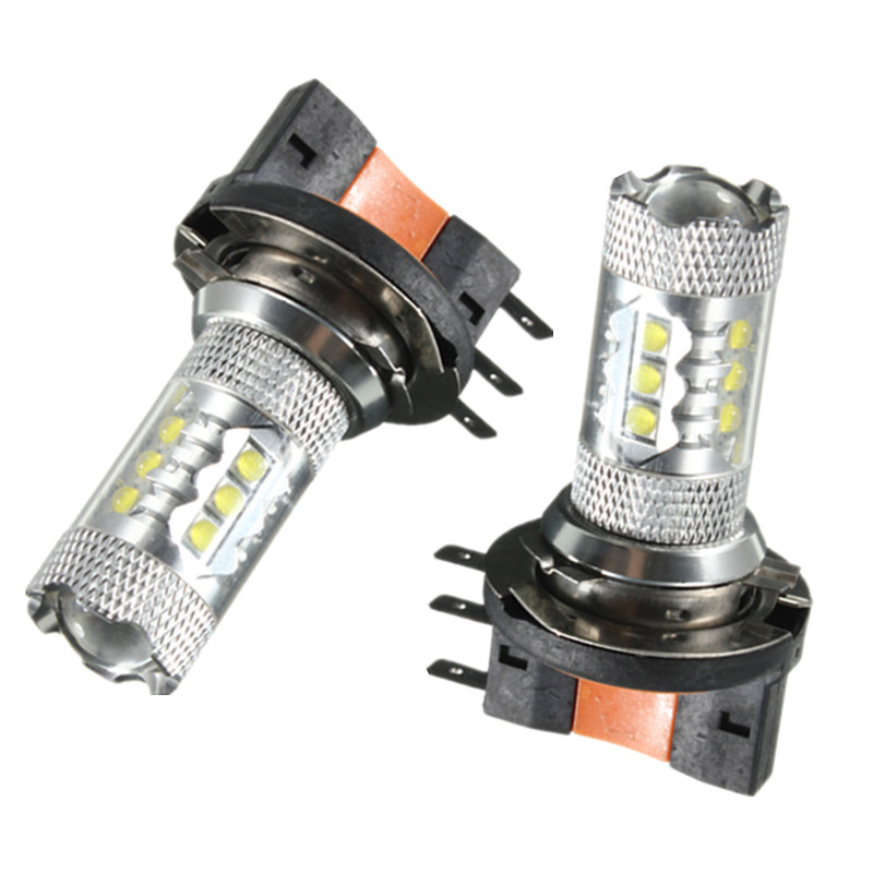 Lowest Price H15 16 LED 80W Car Auto DRL Daytime Running Lights Lamp Replacement Bulb 800LM Pure White DC12-24V high quality h3 led 20w led projector high power white car auto drl daytime running lights headlight fog lamp bulb dc12v