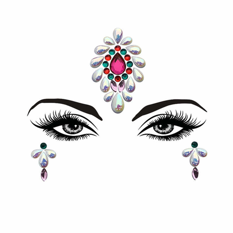 ... 1Pc Adhesive Resin Face jewels Gems Temporary Tattoo Face Jewels  Festival Party Body Gems Rhinestone Bindi ... 18dc3b1636e9