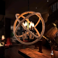 Free shipping American Country Loft vintage Hemp cable pendant lamp 3 heads/6 heads